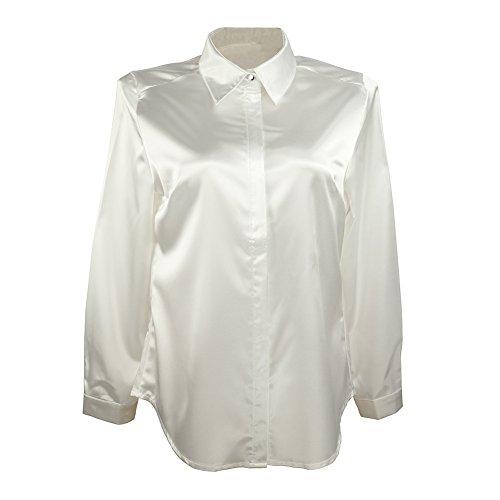 Button-down-bluse Aus Seide (YOUMU Damen Satin Silk Langarm Button Hemd Formelle Arbeit Seidige Bluse)