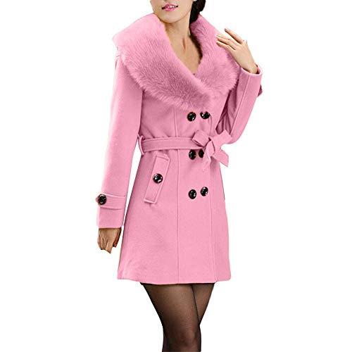 (Qiusa Womens Winter Revers Wolle Kragen Mantel Langarm Mantel Elegante Trench Jacke (Farbe : Rosa, Größe : XL))
