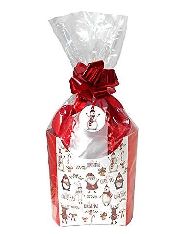 Pop-Up Box Geschenk-Set mit Seidenpapier, Cello Tasche, Ziehen Schleife und Geschenkanhänger–Weihnachten Santa Schneemann Rudolph