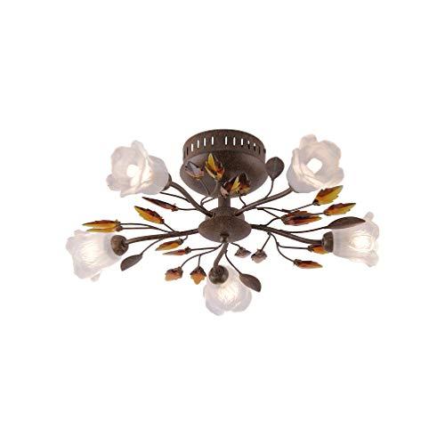 SellTec Landhaus-Leuchte, rustikale Deckenleuchte Florentiner Astleuchte mit Blättern Ranken, Fassung G9 LED fähig, Rost-Optik (50cm) - Blatt-akzent-lampe