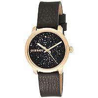 Diesel Ladies Dz5520 Flare Rose Gold Black Leather Watch, Analog Display