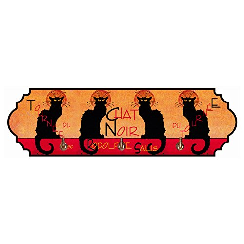 Souvenirs de France - Porte Torchon Métal Paris 'Chat Noir' - 3 Crochets