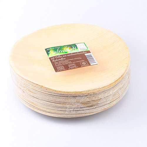 quau, 25 Einwegteller aus Palmblatt, rund, Ø23cm, kompostierbar, biologisch abbaubar, Palmblattteller, Palmteller - 4