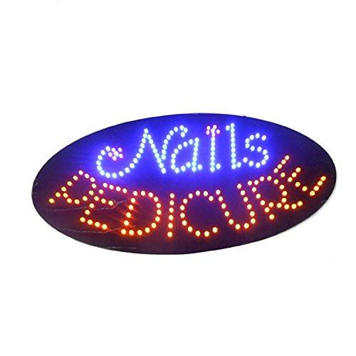 LED-Lichtschild, Spa-Nageldesign, superhell, für elektrische Werbung, für Geschäfte, Fenster, Schlafzimmer, 19 x 10 Zoll
