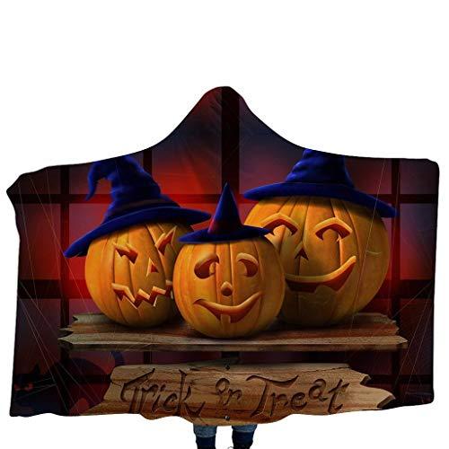 GJKK Halloween Kürbis/Schädel Funny Muster Cap Umhang mit Kapuze Kuscheldecke Decke Kinderdecken mit Kapuze Schal Halloween Kostüme für Kinder (Funny Newborn Kostüm)