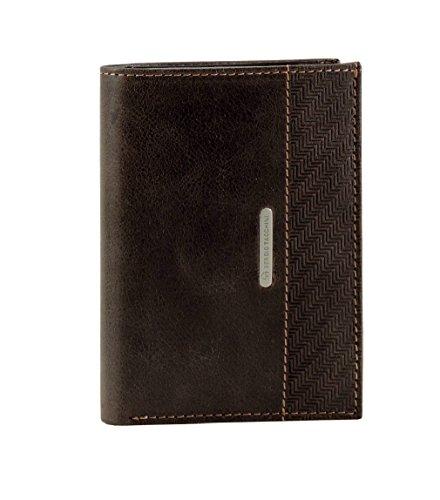 Portafoglio uomo Verticale SERGIO TACCHINI in VERA PELLE con porta carte e portamonete, modello ITALIA Marrone