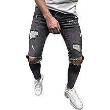 1447aa56da Pantalones Vaqueros Rotos Hombre Jeans Pantalones Vaqueros Elásticos Skinny  Slim Fit Delgados