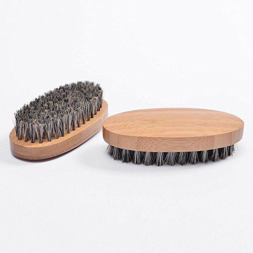 hahuha Makeups  Schönheitsprodukte ,Männer Eber Haarbürste Bart Schnurrbart Bürste Militärische Harte Runde Holzgriff Kamm