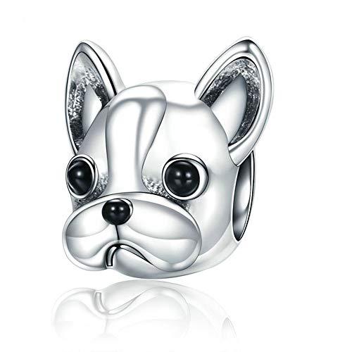 HANYF DIY Lose Zubehör Anhänger,Hund Tier 925 Silber Perlen Verstreut Perlen Schmuck Zubehör Personalisierte Bulldog