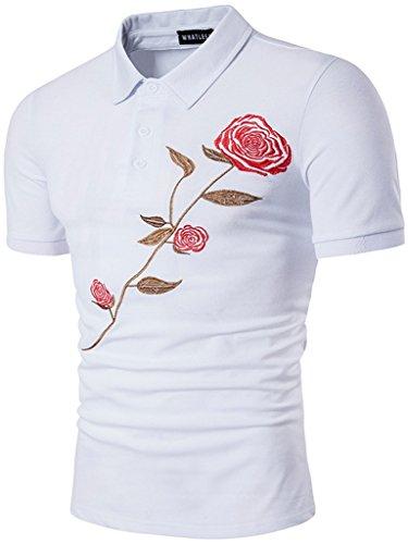 Whatlees Herren Urban Basic schmale Passform Polohemd mit Bunt Druckmuster und Stickerei B525-White