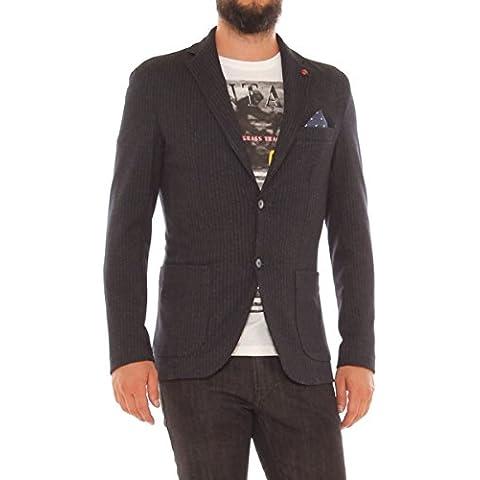 Giacca elegante slim in jersey misto cotone fantasia (Nero Giacca Gessata)