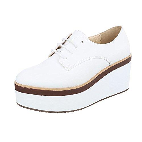 Schnürer Damen-Schuhe Oxford Schnürer Schnürsenkel Ital-Design Halbschuhe Weiß, Gr 37, 3133-