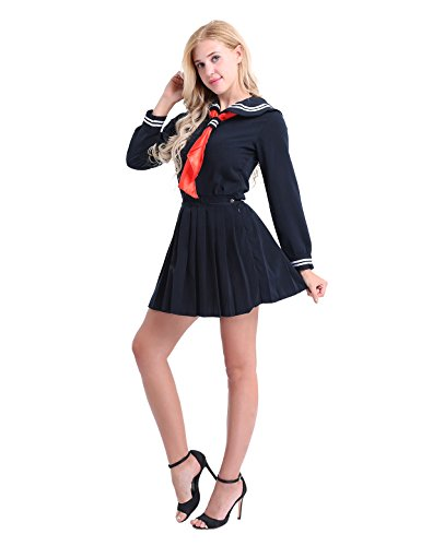 Freebily 3pcs Damen Teenager Mädchen Schuluniform Anzug Cosplay Kostüm Sailor Uniform Matrosen-Kostüm Langarm Shirt Mini Faltenrock Dreieck Halstuch Set Dunkel Marine - Teenager Sailor Kostüm