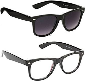 Sheomy Unisex Combo Pack of Transparent Wayfarer Sunglasses and Black Wayfarer Sunglasses for Men and Women with 2 boxes (R8-PLAA-CH8C|55|Multicolor)