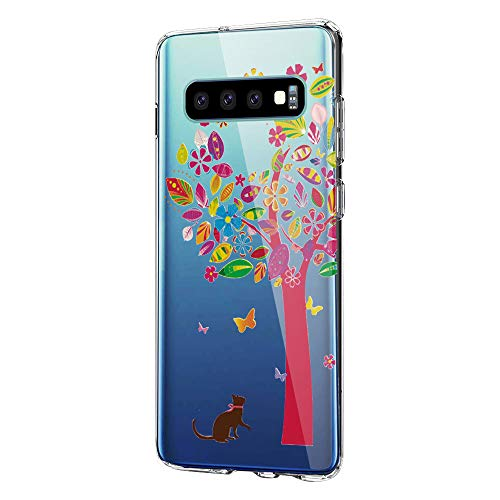 pooier Kompatibel Mit Samsung Galaxy S10+ Hülle Transparent Silikon Handyhülle Ultra Dünn TPU Protection Farbe Planet Muster Fit Galaxy S10 Hülle (Samsung Galaxy S10+ / Galaxy S10 Plus, Farbe-Baum)