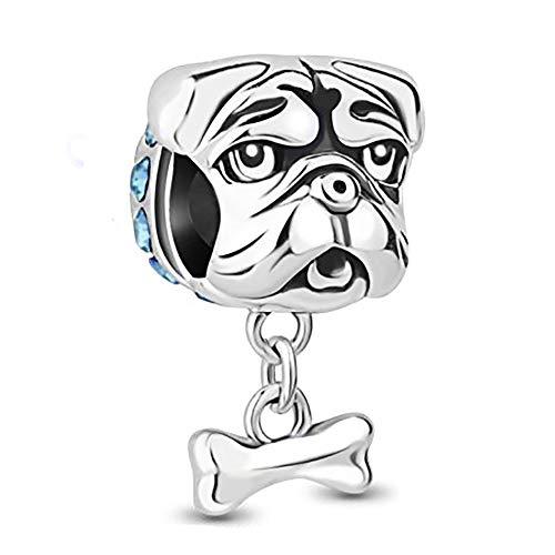 Charm a forma di cane bulldog con osso, in argento sterling 925con perlina e Argento, cod. SHYZ231