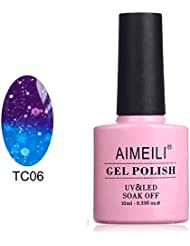 AIMEILI UV LED Thermo Gellack ablösbarer Nagellack Gel Polish - Glitzer Purple to Glitzer Blue Full Shimmer/ Diamond (TC06) 10ml