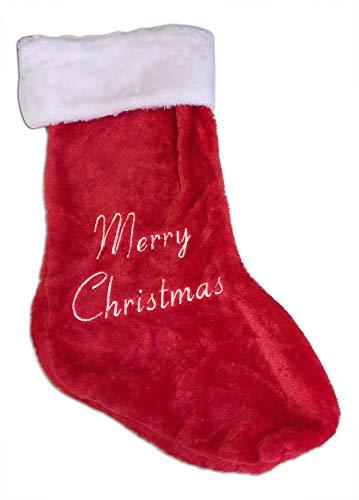 Grande lusso peluche calza di natale 65x 43cm con festive slogan merry christmas