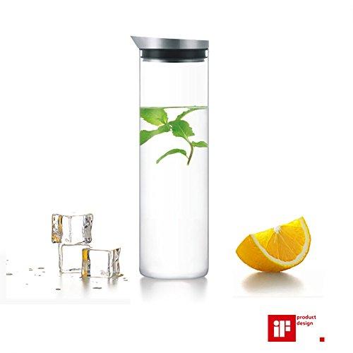 LeOx- Caraffa 1L Vetro Borosilicato & Acciaio inossidabile Bottiglia con Coperchio Vetro Acqua Caraffa Cristallo Refrigerante