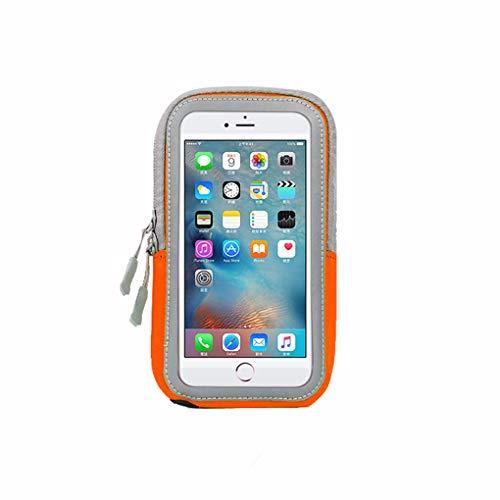 Sport Armband Fitness für iPhone6 7 8 / iPhone6plus ~ iPhone X - Fingerabdruck-ID - Reflektierender Streifen - Schlüsselanhänger, geeignet für Fitnessstudio, Radfahren, Outdoor-Sportarten,Orange,4.7in (Iphone6 Fitness-armband)