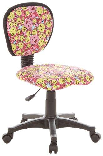 hjh OFFICE 670165 chaise de bureau enfant, chaise enfant KIDDY TOP rose/jaune, motif Smiley sans accoudoirs, dossier ergonomique, réglable en hauteur, tissu en maille, résistant et antitâches, assise galbée confortable
