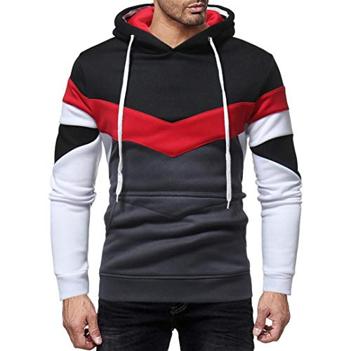 Tefamore Automne Patchwork Casual Men Sweatshirt à Capuche Sweat Top Outwear(XXL,Noir)