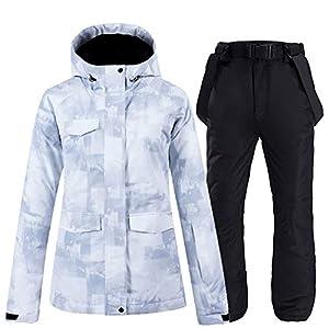 S.T Skianzug Damen winddicht wasserdicht warm für Erwachsene Schneeland Reiseausrüstung Polyesterfasergewebe bequem und atmungsaktiv, geeignet für Eis- und Schneesportarten