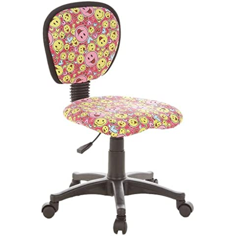 hjh OFFICE 670165 KIDDY TOP Smileys Silla para niños y silla giratoria, tejido rosa / amarillo