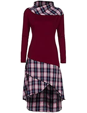 AMUSTER Damen Herbst Langarm Pulloverkleid Loose Fit Tuniken Pulli Frauen Elegant High Neck Plaid Muster Patchwork...