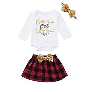 Proumy ◕ˇ∀ˇ◕Neugeborene Mädchen Baby Kleidung Set, 3pcs Baby Kinder Mädchen Strampler + Plaid Print Kleid + Stirnband Set Outfits Weihnachtskleid