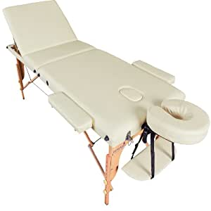 Massage Imperial® Deluxe Professional Cream 3-Section Portable Massage Table Couch Bed Reiki