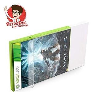 100 Klarsicht Schutzhüllen für X-BOX 360 Games in Originalverpackung – Passgenau und Glasklar – PET – Retro-Doc Game Protectors – X-BOX Classic – Extra Laschen – Bessere Optik
