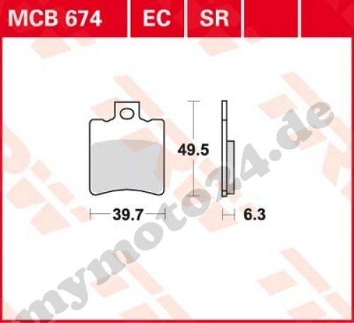 Bremsbelag TRW / Lucas MCB674, Organische Mischung mit ABE für Aprilia SR50 Street Baujahr 2010 - Street-mischung