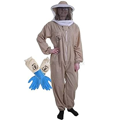 Buzz Basic Beekeeper's Bee Suit With Round Veil And Latex Gloves – Khaki (Medium) 1