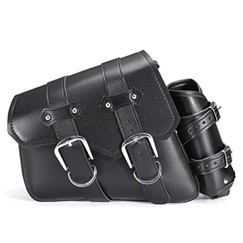 WUX698 - Borsa da sella universale per moto, lato sinistro/destro, in pelle PU, impermeabile, colore: nero