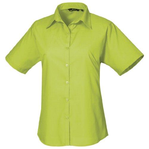 Premier Workwear Damen Bluse Ladies Short Sleeve Poplin Blouse Limette