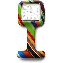 QBD Nurses Fashion Coloured Patterned Silicon Rubber Fob Watches - SQUARE Stripe