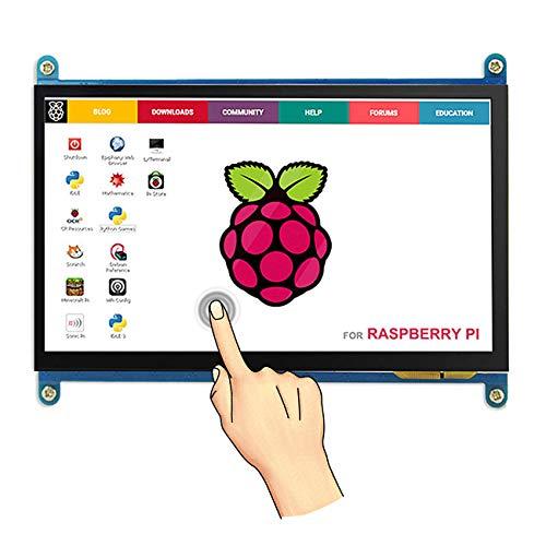 Touchscreen für Himbeere Raspberry, Monitor Display Anzeigen IPS Bildschirm-7 Zoll 1024X600 HD TFT LCD mit Touchscreen für Himbeere Raspberry Pi B + / 2B Raspberry Pi 3 Windows 10/8.1/8/7 (Hd-lcd-bildschirm)