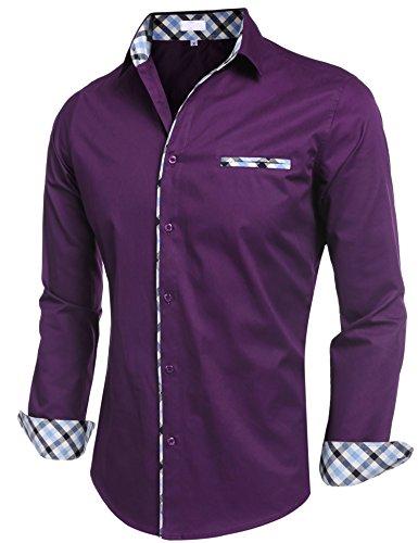 BeautyUU Herren Hemd Baumwolle Langarmhemd Slim Fit Freizeithemd Bügelleicht 1-Lila