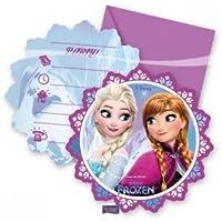 Ce lot est sous licence officielle La Reine des Neiges. Il se compose de 6 cartons dinvitation et de 6 enveloppes.Les cartes violettes et bleues ont une forme de flocon de neige de 11 cm de diamètre environ. Elles sont imprimées au recto des portrait...