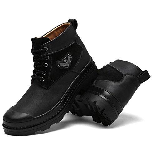Autunno Ed Inverno Uomini Cuoio Scarpe Casual Moda Più Cashmere Caldo Scarpe Da Uomo Fondo Spessore Alto Aiuto Scarpe Black