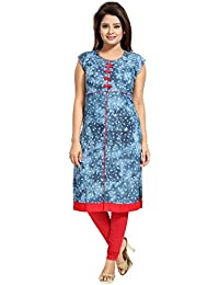 Tucute Girls / Womens Denim Kurti / Kurta For Women With Natural Wash & Soft Print (Denim Blue)