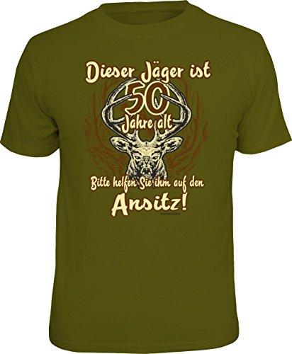 Über Die Jagd T-shirt (T-Shirt für den Jäger zum 50. Geburtstag: Dieser Jäger ist über 50... Größe XXL, Nr.1805)
