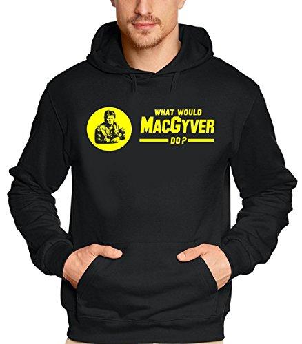 Mac Gyver ! Sweatshirt mit Kapuze MacGyver Gelb-Logo schwarz Gr.M