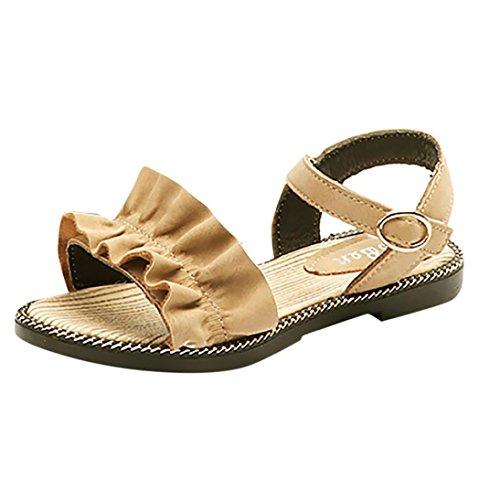 SOMESUN Fashion Sommer Kinder Mädchen Sandalen Baby Elegant Prinzessin Weich Kunstleder Gemütlich Atmungsaktiv Wellen Rüschen Beiläufig Freizeit Schuhe (EU34, Beige) (Air Jordan 11 Baby-schuhe)