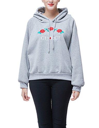 Femme Col Rond Sweat-Shirt à Capuche Broderie Manches Longues Blouse Lâche Hoodie Tops Hauts Casual Veste Pulls Élégant Sweater Sport Automne Printemps YOSICIL Gris