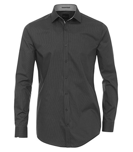 Venti - Body Fit/Super Slim Fit - Herren Langarm Hemd in Blau oder Grau, kleinkariert (162568900 A) Anthrazit (750)