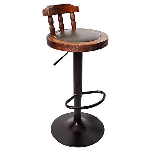 Chaise de Salle à Manger/siège de Bar,Chair Rétro Chaise en Bois Massif de Levage Haut Tabouret, Salon/réception / Salon de beauté/Salon de Coiffure,* 02