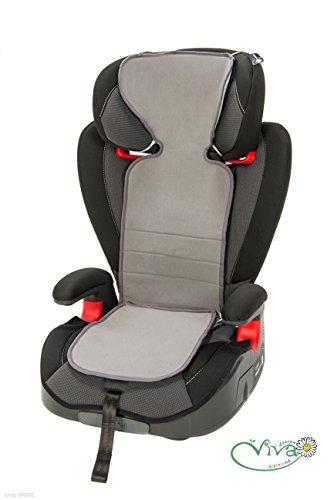 Anti Schwitz Auflage Kindersitz 2/3 (grau) | Sommerbezug | Verringert Schwitzen | Kühlt durch Luftzirkulation | Waschbar | 100 Prozent Baumwolle | Öko-Tex Standard 100 Klasse I zertifiziert | PREMIUM QUALITAT - 10 Jahre Erfahrung
