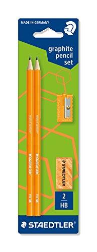 Staedtler – Set Lápiz Grafito Neon naranja: Lápiz + Goma de borrar + Afilalápices